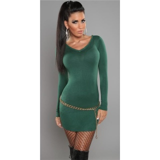 SEXY FINE-KNITTED MINI DRESS/LONG SWEATER WITH ZIP AT V-NECK GREEN