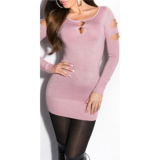 FANCY FINE-KNITTED LONG SWEATER WITH LUREX GLITTER AND CUT-OUTS ANTIQUE PINK