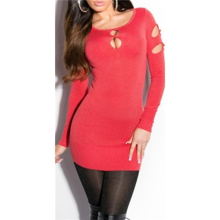 FANCY FINE-KNITTED LONG SWEATER WITH LUREX GLITTER AND CUT-OUTS CORAL