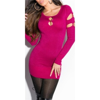 FANCY FINE-KNITTED LONG SWEATER WITH LUREX GLITTER AND CUT-OUTS FUCHSIA