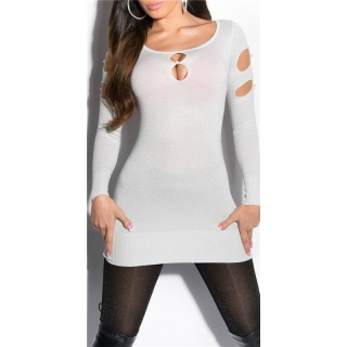 FANCY FINE-KNITTED LONG SWEATER WITH LUREX GLITTER AND CUT-OUTS WHITE