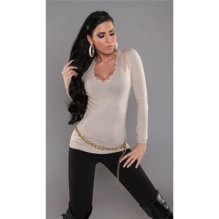 SEXY FINE-KNITTED SWEATER WITH RIVETS BEIGE