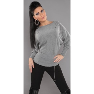 ELEGANT FINE-KNITTED SWEATER WITH RIVETS RHINESTONES GREY