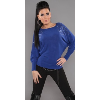 ELEGANT FINE-KNITTED SWEATER WITH RIVETS RHINESTONES ROYAL BLUE