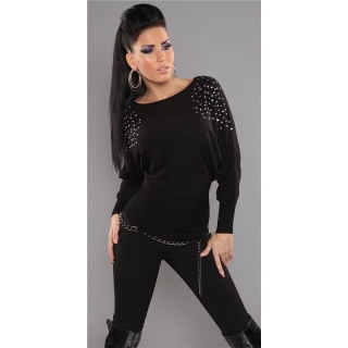 ELEGANT FINE-KNITTED SWEATER WITH RIVETS RHINESTONES BLACK