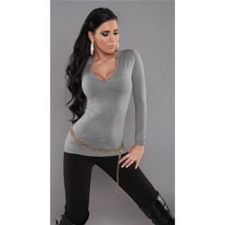 SEXY FINE-KNITTED SWEATER WITH RIVETS GREY