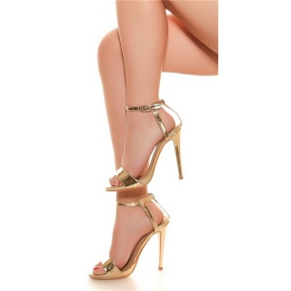 SEXY FESSELRIEMCHEN SANDALETTEN HIGH HEELS IN LACK-OPTIK GOLD