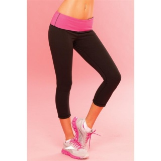 SEXY FITNESS YOGA PANTS LEGGINGS SPORTSWEAR BLACK/FUCHSIA