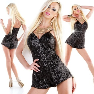 SEXY GLAMOUR HOTPANTS OVERALL JUMPSUIT WITH SEQUINS BLACK