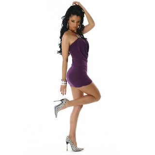 SEXY GLAMOUR HALTERNECK MINIDRESS PURPLE