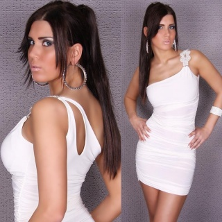 SEXY GLAMOUR ONE-SHOULDER SHEATH DRESS WHITE