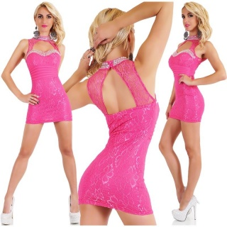 SEXY GLAMOUR PARTY LACE MINI DRESS WITH STONES FUCHSIA