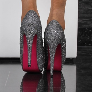 SEXY GLAMOUR SHOES PEEP TOES WITH RIVETS HIGH HEELS ANTHRACITE
