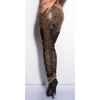 SEXY GLOSSY LEGGINGS WITH CHIFFON WET LOOK CLUBWEAR LEO/BLACK