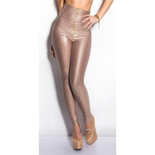 SEXY GLOSSY WET LOOK HIGH-WAISTED LEGGINGS WITH ZIPPER CAPPUCCINO