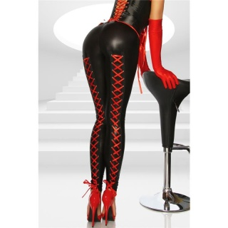 SEXY GLOSSY LEGGINGS WET LOOK WITH LACING BLACK/RED