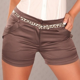 SEXY SHINY SATIN SHORTS HOTPANTS WITH BELT BROWN