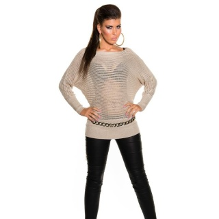 SEXY GLITTER KNITTED SWEATER WITH BATWING SLEEVES BEIGE