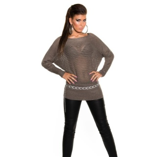SEXY GLITTER KNITTED SWEATER WITH BATWING SLEEVES CAPPUCCINO