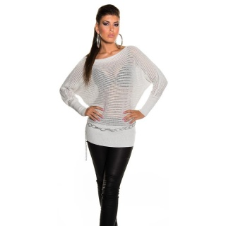 SEXY GLITTER KNITTED SWEATER WITH BATWING SLEEVES WHITE