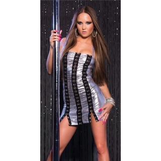 SEXY WET LOOK STRIPPER MINIDRESS WITH METAL EYELETS CLUBWEAR SILVER