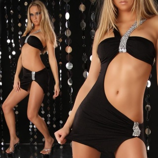 SEXY STRIPPER MINIDRESS WITH SEQUINS CLUBBING BLACK