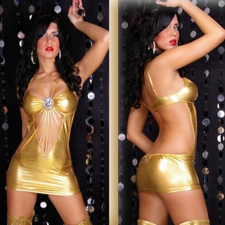 SEXY GOGO MINIDRESS WITH RHINESTONE-BROOCH CLUBWEAR GOLD