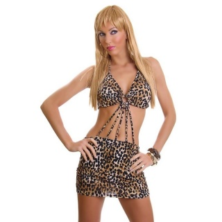 SEXY GOGO HALTERNECK MINIDRESS LEOPARD-LOOK CLUB BROWN/BLACK