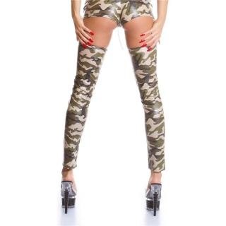 SEXY GOGO OVERKNEE LEGWARMERS CLUB ARMY-LOOK CAMOUFLAGE OLIVE