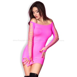 SEXY GOGO STRETCH MINI DRESS WITH CUT-OUTS CLUBWEAR NEON-FUCHSIA