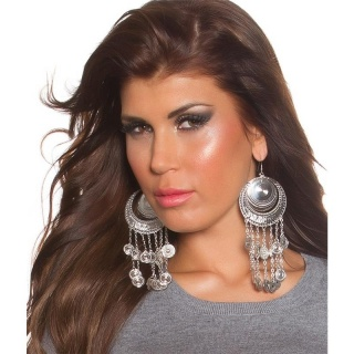 SEXY EARRINGS IN ORIENTAL LOOK FASHION JEWELLERY SILVER