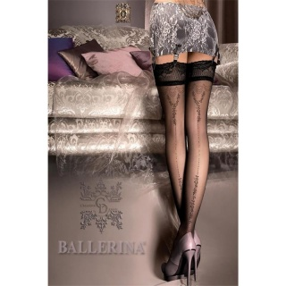 FEMININE BALLERINA HOLD-UP NYLON STOCKINGS WITH LACE TOP BLACK
