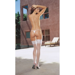 SEXY DREAMGIRL SEMI-TRANSPARENT NYLON STOCKINGS WITH LACE EDGE WHITE