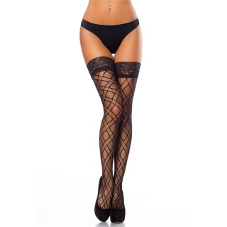 SEXY HOLD-UP THIGH-HIGH NYLON FISHNET STOCKINGS BLACK