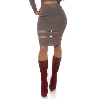 SEXY FINE-KNITTED HIGH-WAISTED SKIRT WITH TRANSPARENT STRIPES CAPPUCCINO