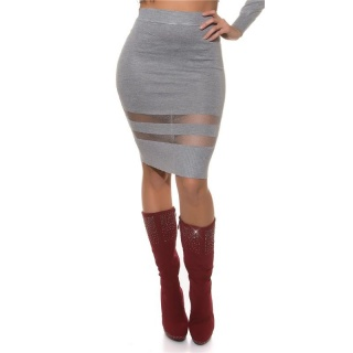 SEXY FINE-KNITTED HIGH WAISTED SKIRT WITH TRANSPARENT STRIPES GREY