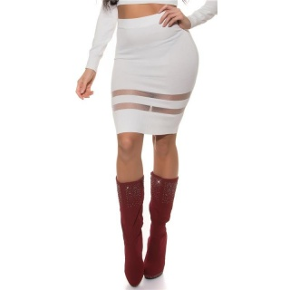 SEXY FINE-KNITTED HIGH WAISTED SKIRT WITH TRANSPARENT STRIPES WHITE