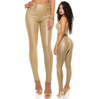 SEXY SKINNY HIGH-WAISTED TREGGINGS PANTS IN LEATHER-LOOK BEIGE
