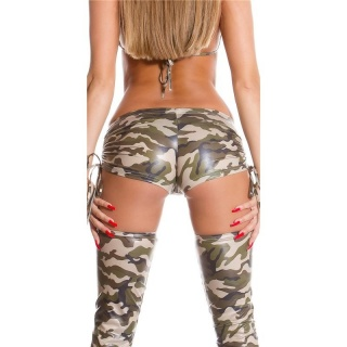 MEGA SEXY HOTPANTS GOGO CLUBWEAR ARMY LOOK CAMOUFLAGE OLIVE