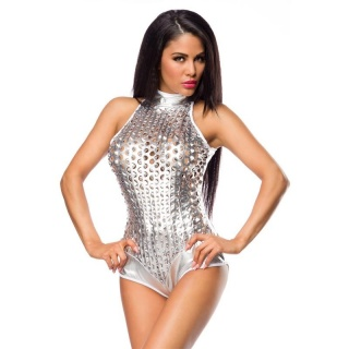 SEXY HOTPANTS OVERALL BODY METALLIC-LOOK GOGO CLUBWEAR SILBER