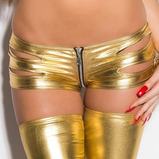 SEXY HOTPANTS PANTY WITH ZIPPER AND CUT-OUTS GOGO CLUBWEAR GOLD
