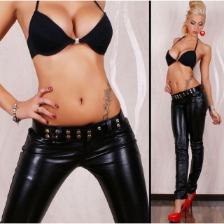 SEXY LOW-RISE PANTS LEATHER-LOOK FETISH WET LOOK BLACK