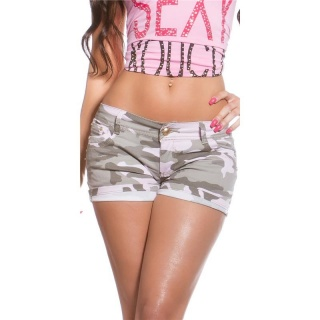 SEXY JEANS HOTPANTS IM CAMOUFLAGE-LOOK ARMY OLIVGRÜN/ROSA