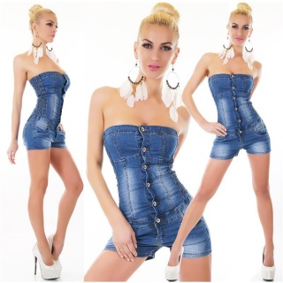 SEXY SHORT JEANS HOTPANTS OVERALL JUMPSUIT USED-LOOK DARK BLUE