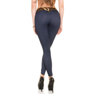 SEXY JEGGINGS LEGGINGS JEANS LOOK WITH LEO-WAISTBAND DARK BLUE