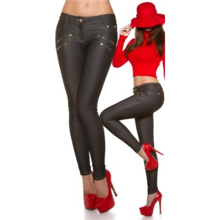 SEXY SKINNY JEGGINGS LEGGINGS JEANS-LOOK WITH ZIPPER BLACK