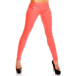 SEXY JEGGINGS LEGGINGS STRETCH HOSE MIT ZIER-ZIPPER CORAL