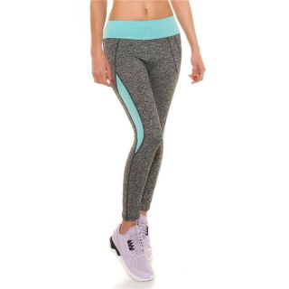SEXY TRACKIES SWEATPANTS FITNESS YOGA LEGGINGS GREY/MINT GREEN