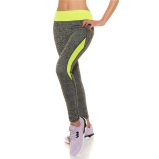 SEXY TRACKIES SWEATPANTS FITNESS YOGA LEGGINGS GREY/NEON-YELLOW