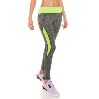SEXY TRACKIES SWEATPANTS FITNESS YOGA LEGGINGS GREY/NEON-GREEN